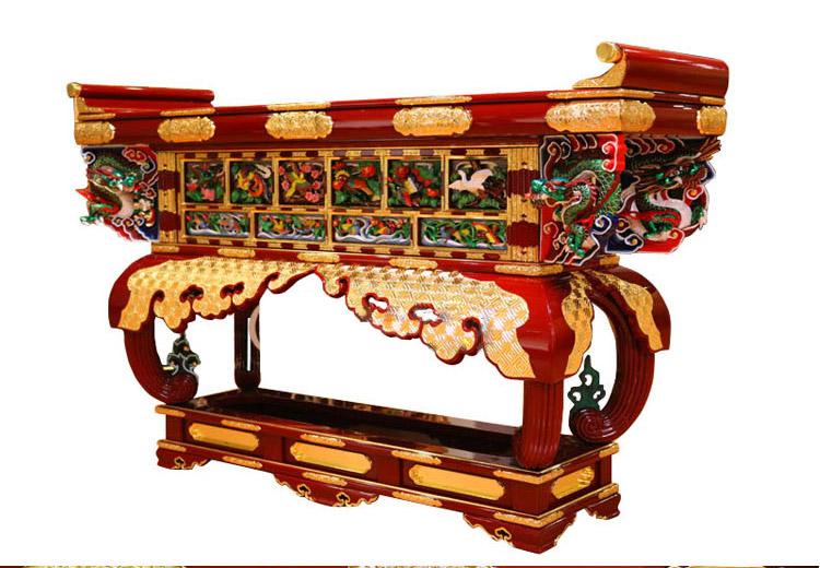 文新佛具  六鸟供桌 纯手工实木制作钢琴烤漆手工金具饰品手工彩绘24K贴金