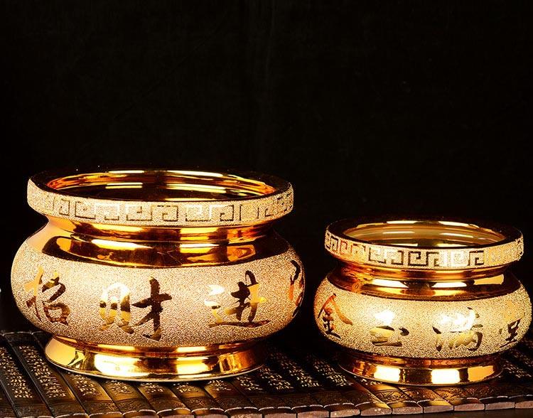 金色陶瓷香炉摆件大号烧香炉熏香炉家用居室用财神供奉